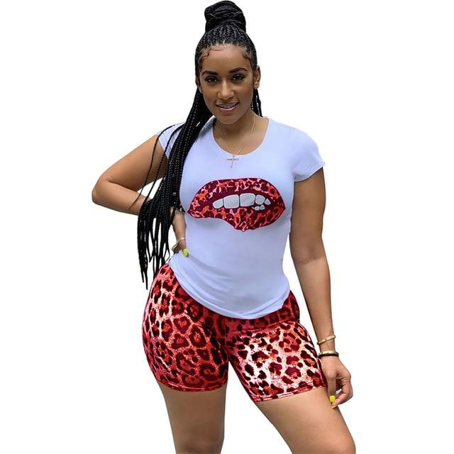 HAOYUAN grande taille deux pièces ensemble survêtement lèvres manches courtes hauts + léopard Shorts Festival correspondant ensembles 2 pièces tenues pour les femmes 2