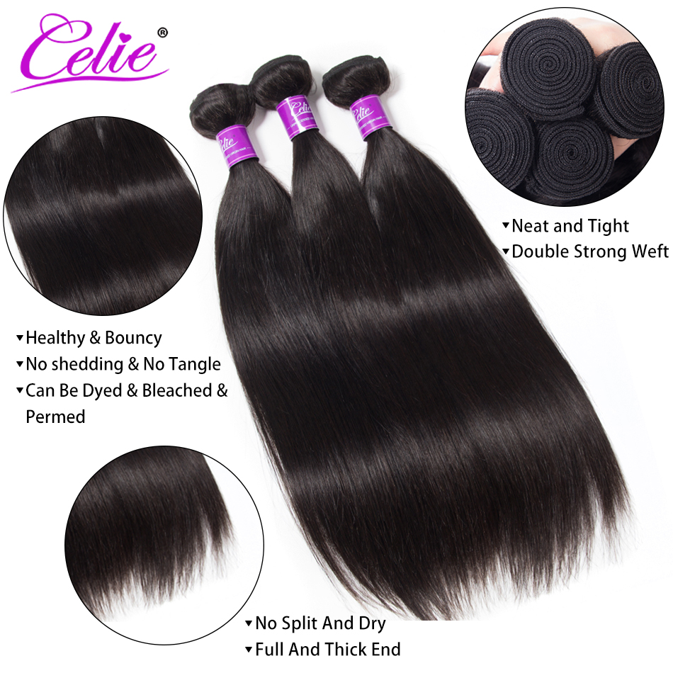 Celie Straight Hair Bundles Deal Brazilian Hair Weave Bundles 10-30 inch Brazilian Hair Extensions Remy Human Hair Bundles 2