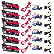 6Pcs VER009 Usb 3.0 Nieuwste Pci E Riser Ver 009S Express 1X 4x 8x 16x Extender Riser Card Adapter sata 15pin Naar 6 Pin Power Kabel