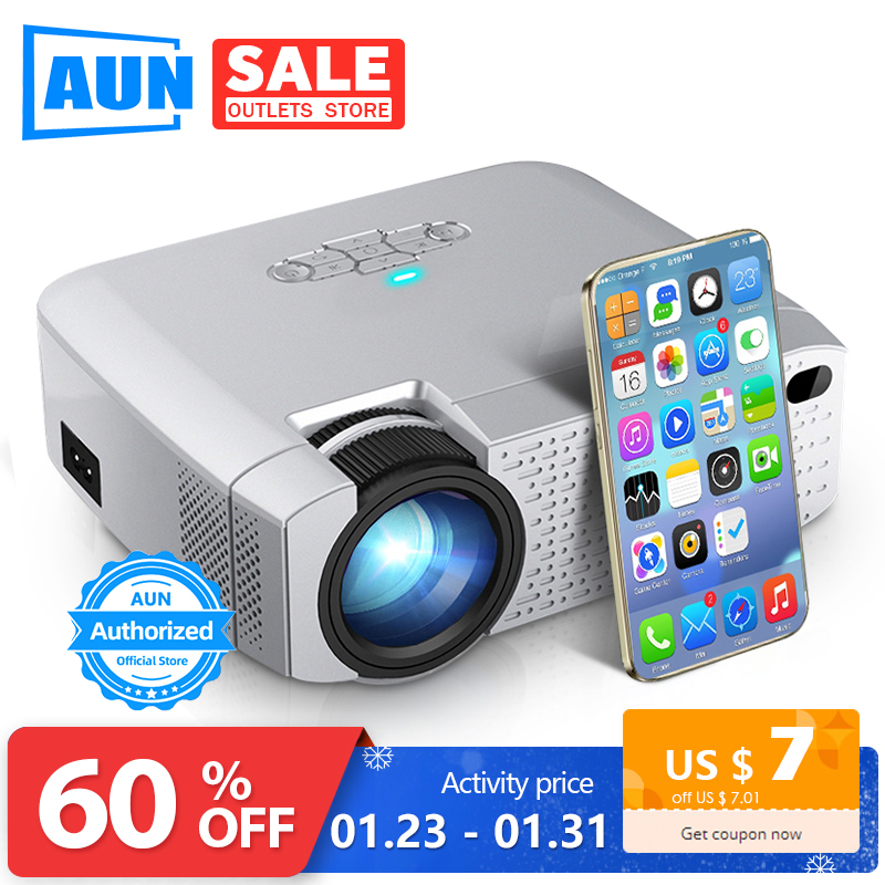 Mini proyector LED de AUN D40W, proyector de vídeo para Cinema.1600 lúmenes, soporte HD, pantalla de sincronización inalámbrica para teléfono iPhone/Android