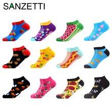 SANZETTI 12 คู่/ล็อตฤดูร้อนผู้หญิงสบายๆ Novelty ที่มีสีสันผ้าฝ้ายข้อเท้าถุงเท้า Harajuku Happy ถุงเท้าสั้นลายสก๊อต Tend ถุงเท้า