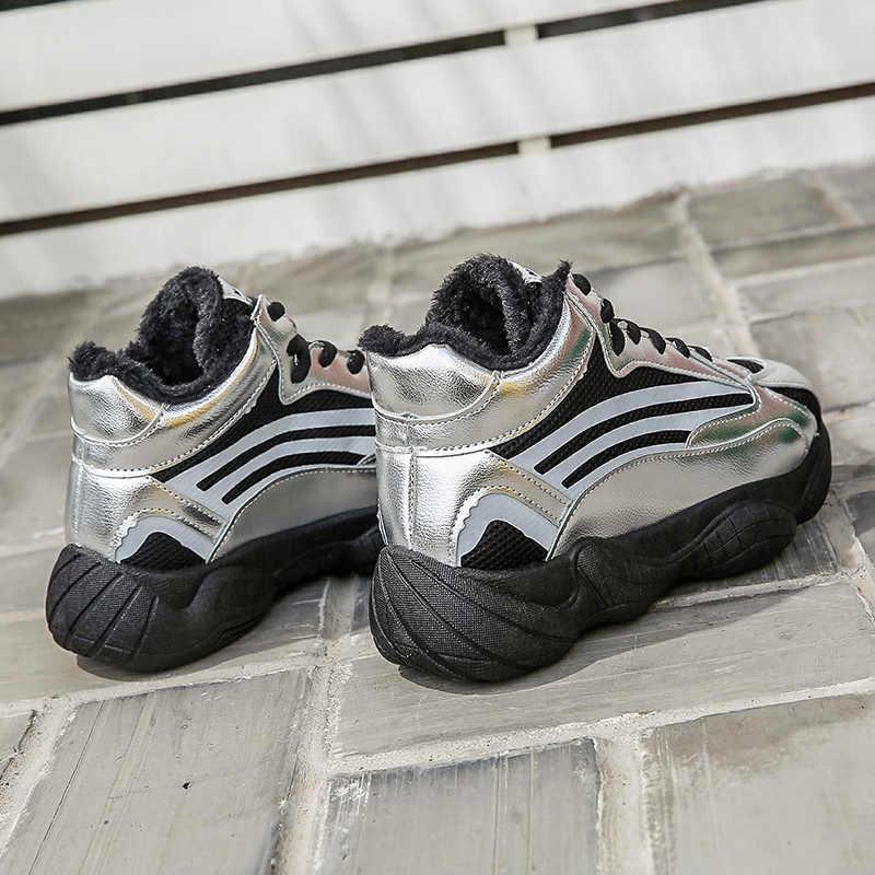 Aphixta renksiz sıcak peluş kış ayakkabı kadın ayakkabı Bling sepeti Femme platformu tıknaz ayakkabı Tenis Feminino ayakkabı