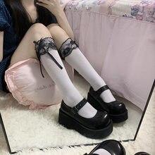 Bonito 1 par lolita meias meninas estilo japonês cor pura arco adorável cosplay alta qualidade primavera outono meias macias