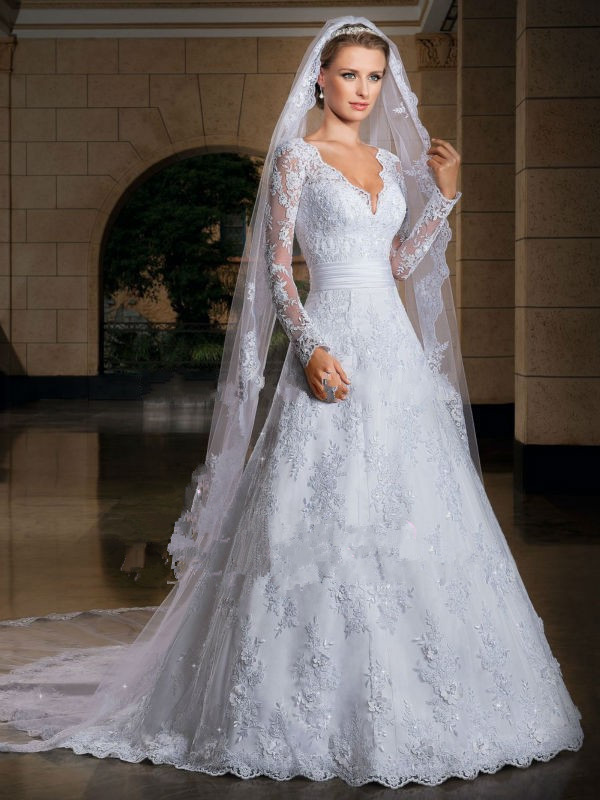 Romantic Winter Long Sleeve Wedding Dress White Custom Made Court Train Appliques Bride Cheap Wedding Gown 2014 Gown For Bridal