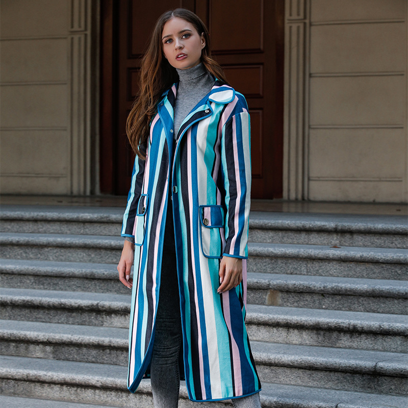 Fabricants vente directe 2018 Style britannique automne et hiver nouveau Style femmes manteau Cool multicolore rayure à manches longues Woo