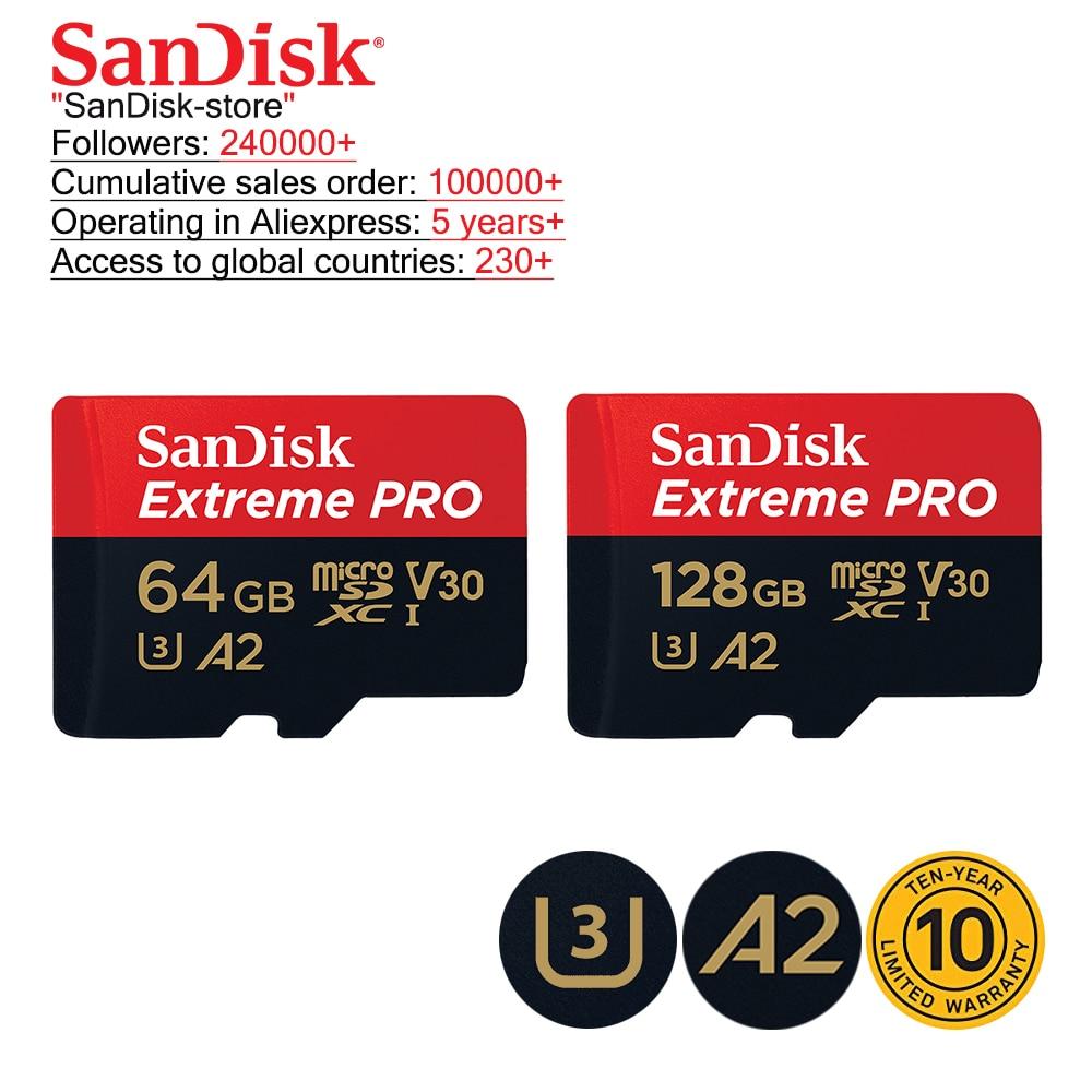 SanDisk Original TF Micro SD Card Extreme Pro Memory Card 32GB 64GB 128GB 256GB Phone Camera 4K Video 10 Years Warranty