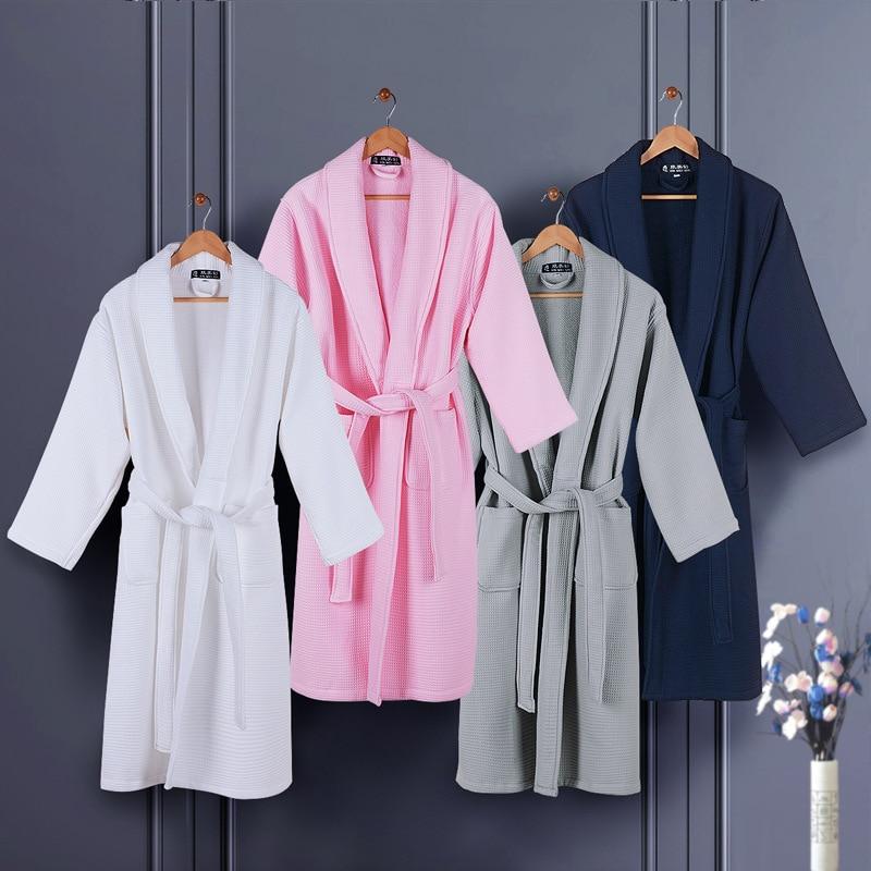 Thicken Men Bath Robe Waffle Cotton Winter Casual Warm Bathrobes Male Sleepwear Robes Home Hotel Gift Wedding Bridesmaid Robes