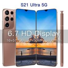 Galay – Smartphone S21Ultra, Version globale, 5G, 16 go 512 go, 6.7 pouces, android 10, plein écran, 6800mAh, Deca Core, réseau LTE, téléphone portable