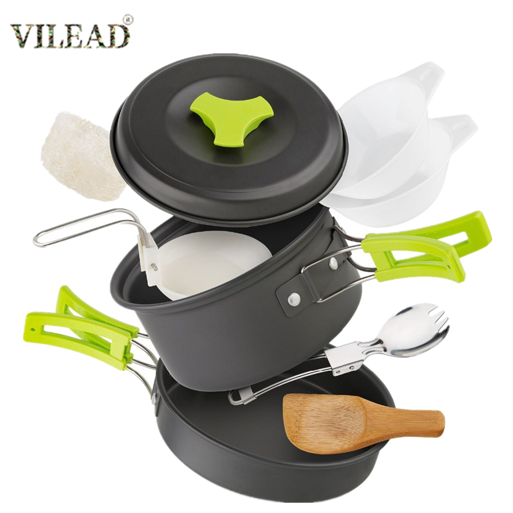 VILEAD 8pcs/Set Outdoor Cookware Set With Pan Pot Rice Spoon Cleaning Ball Portable Camping Tableware Cooking Tool Set Equipment