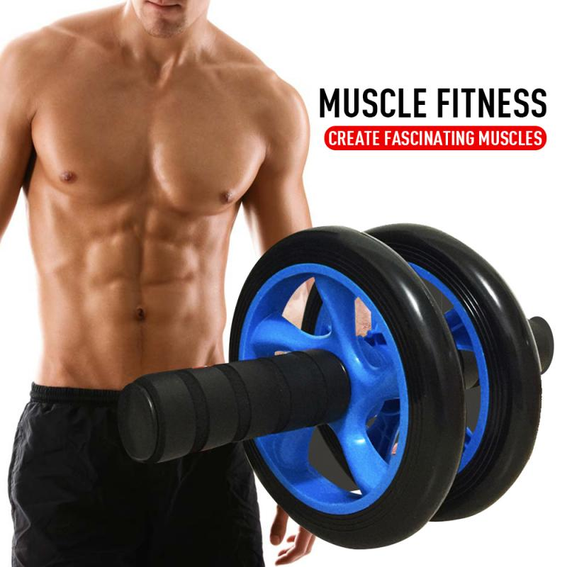 Two-Wheeled Power Roller Abdominal Wheel Abdominal Musle Training Apparatus Thin Waist Fitness Equipment Gym Roller Trainer
