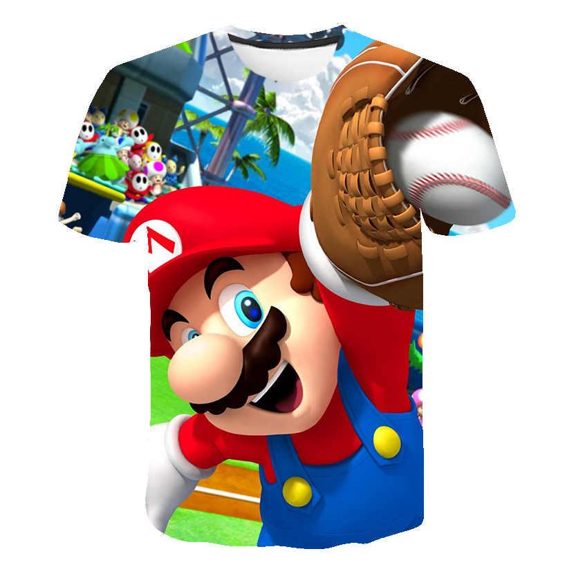 Baru Harajuku Gaya Permainan Klasik Mario Bros 3D Cetak Kaos 2020 Mario Anak Laki-laki Pakaian Fashion Hip Hop Pakaian Anak-anak Street atasan