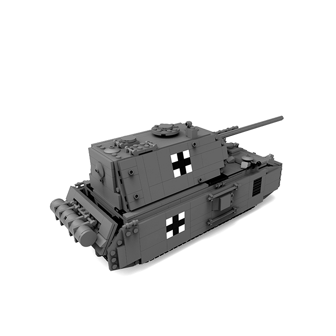 1121Pcs MOC DIY Small Particle Building Block Military Tank Model Rat Super Heavy Tank Bricks For Children Kids Toys - Dark Grey