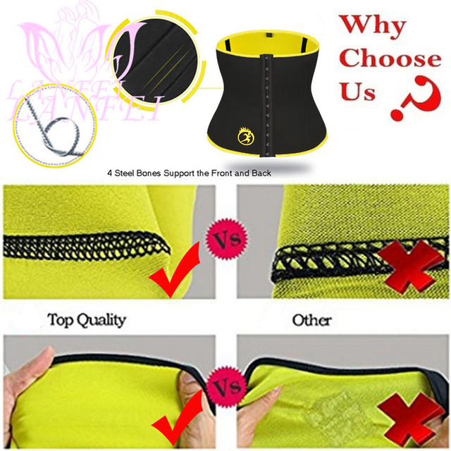 LANFEI Women Waist Trainer Trimmer Body Shaper Belt Sauna Slimming Modeling Strap Hot Neoprene Sweat Corset Weight Loss Fajas 5