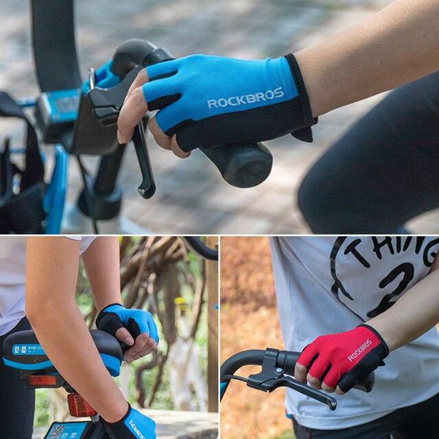 Rockbros luvas de ciclismo metade do dedo da bicicleta luvas à prova de choque respirável mtb mountain bike luvas dos homens esportes ciclismo roupas 4