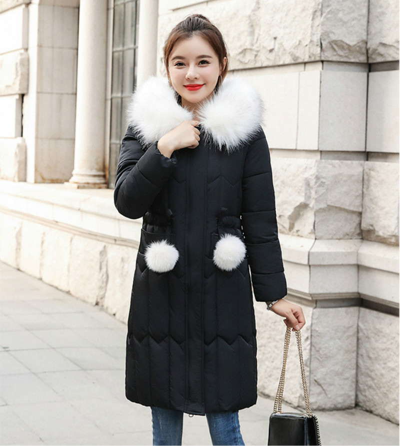 Plus size winter coat women padded cotton hooded women long jacket outwear slim white warm vintage female parka new 2019 DR1195 (1)