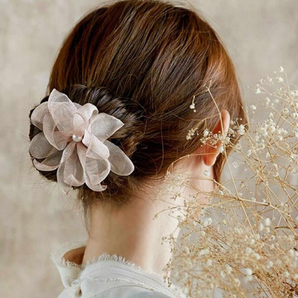 امرأة زهرة الكعك تويست العصابة ماجيك الشعر Hairstyle بها بنفسك تصفيفة الشعر أداة اللؤلؤ الفرنسية برعم طبق إكسسوارات الشعر هيرباند الحلو
