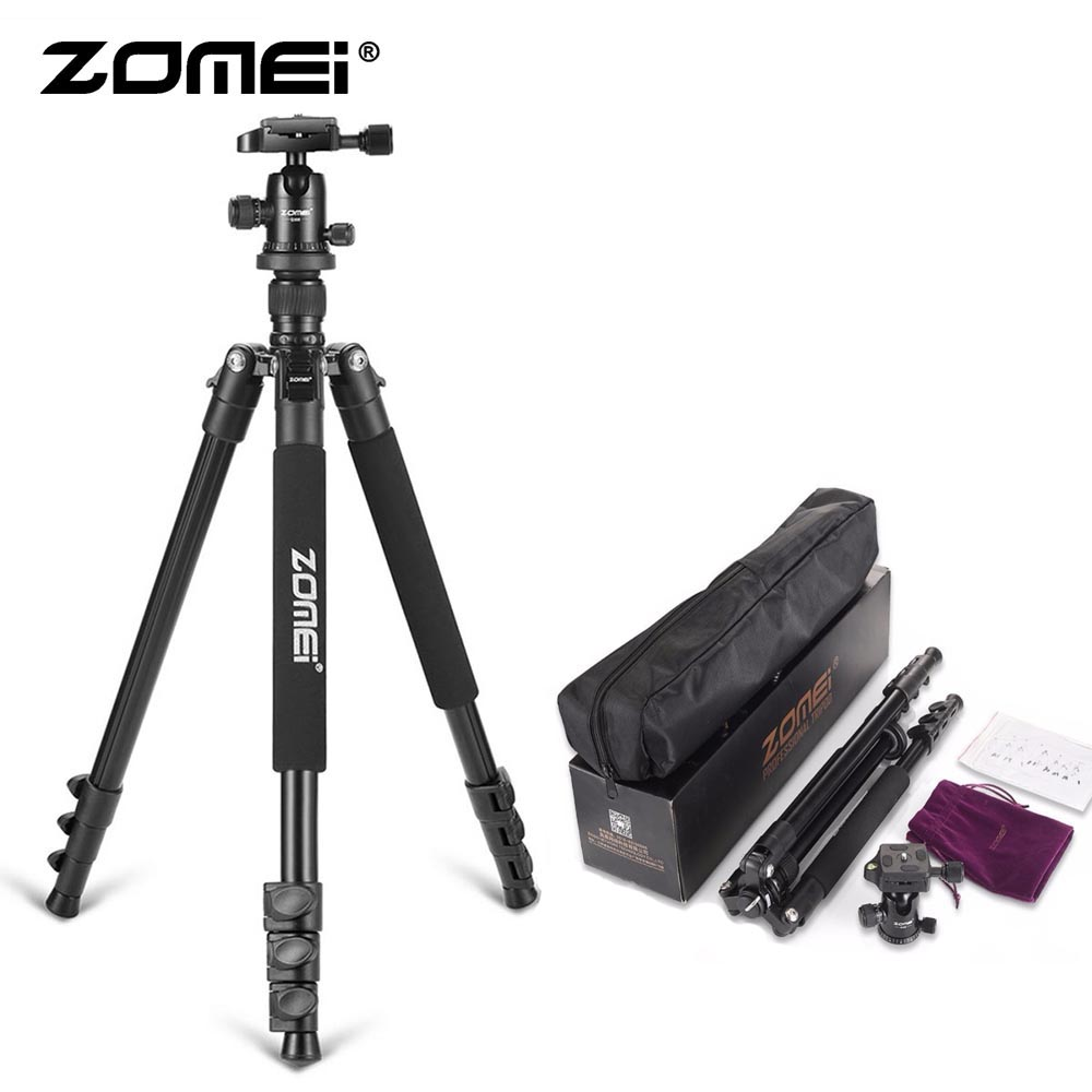 ZoMei Q555 Lightweight Tripod Portable Travel Camera Stand With 360 Degree Ball Head And Carry Bag For SLR DSLR Digital Camera