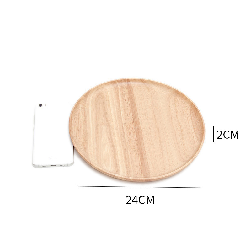Wooden Round Storage Tray Plate Tea Food Dishe Drink Platter Food Plate Dinner Beef Steak Fruit Snack Tray Home Kitchen Decor - Цвет: 5