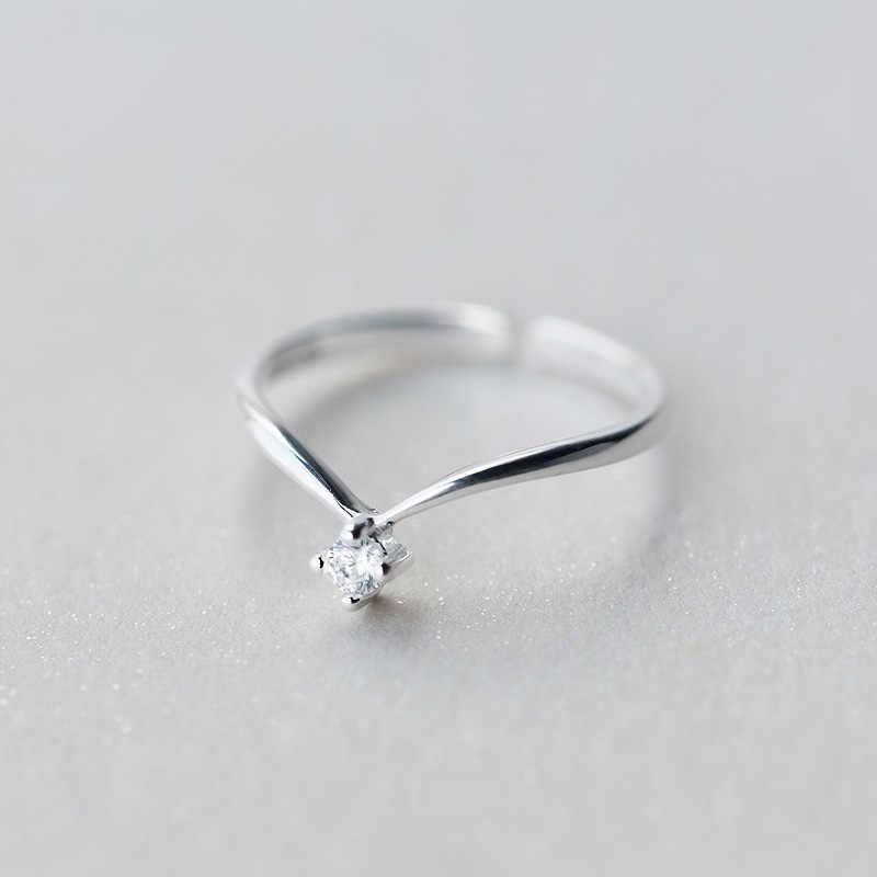 Trusta 2018 ผู้หญิง V CZ รูปร่างแหวนแหวนเปิดแฟชั่นเครื่องประดับบริสุทธิ์ 100% 925 เงินสเตอร์ลิงแหวนที่ดีที่สุดของขวัญ DS470