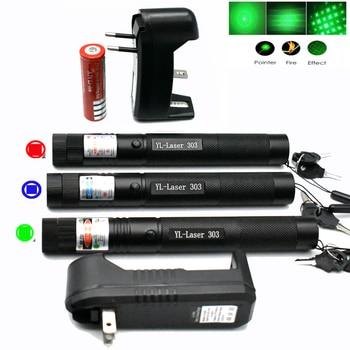Puntero láser Pointe verde, rojo, azul, dispositivo de visión láser Enfoque Ajustable láser 303, elija cargador y batería 18650