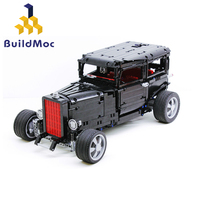 BuildMoc RC Ford Mustang 1932 Hot Rod Model Building Block Technic Racing City Car Bricks Toys for Kids