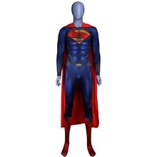 цена на Anime Movie Justice League Man Of Steel Superman Cosplay Costumes Superhero Kids Adults Zentai Jumpsuits Cloak Bodysuits