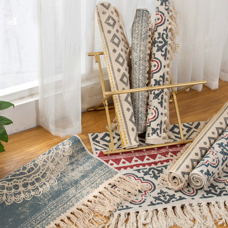 MHAIXM Retro Bohemian Hand Woven Cotton Linen Carpet Tassel Bedside Rug Geometric Floor Mat Living Room Bedroom Home Decoration