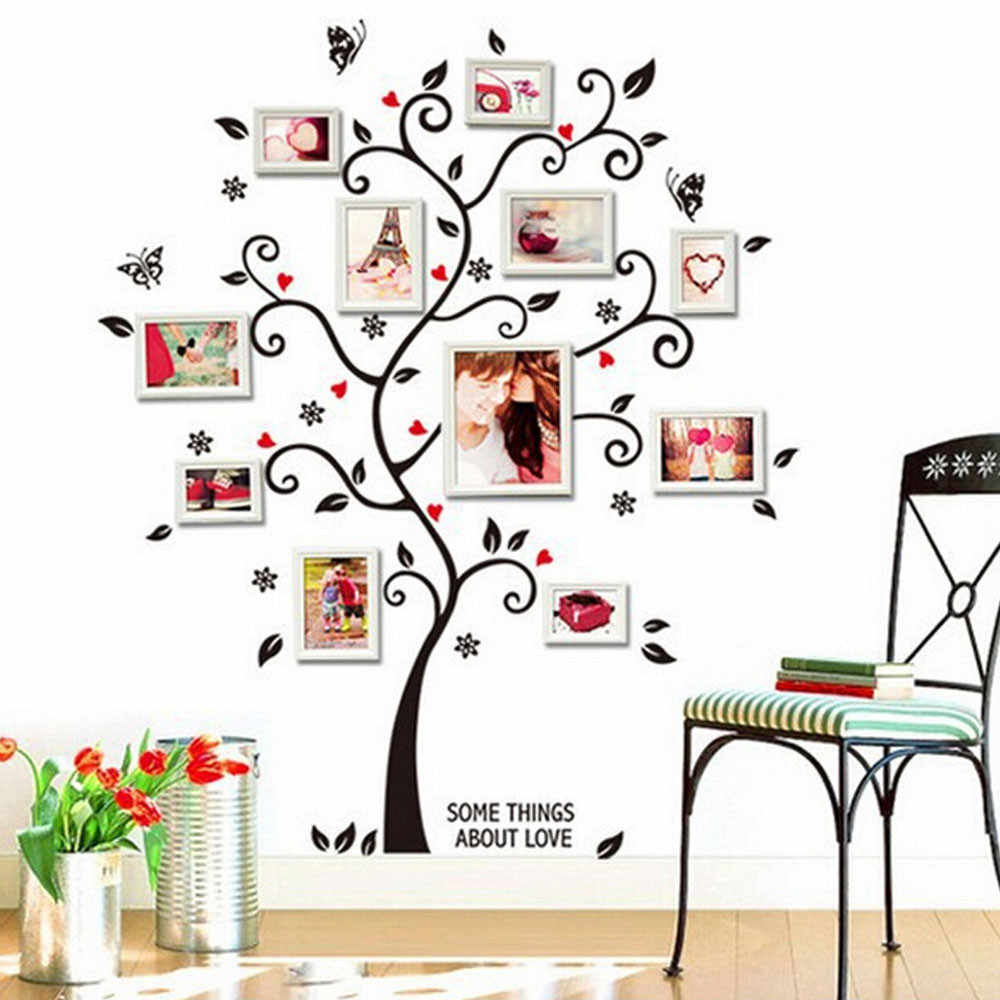 Diyの家族の写真フレーム木の壁のステッカー家の装飾リビングルームの寝室の壁ポスター家の装飾壁紙