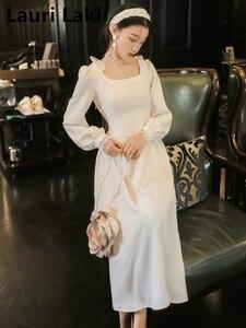 Женское винтажное вечернее платье макси, белое длинное платье с длинным рукавом размера плюс на осень и весну, 2019