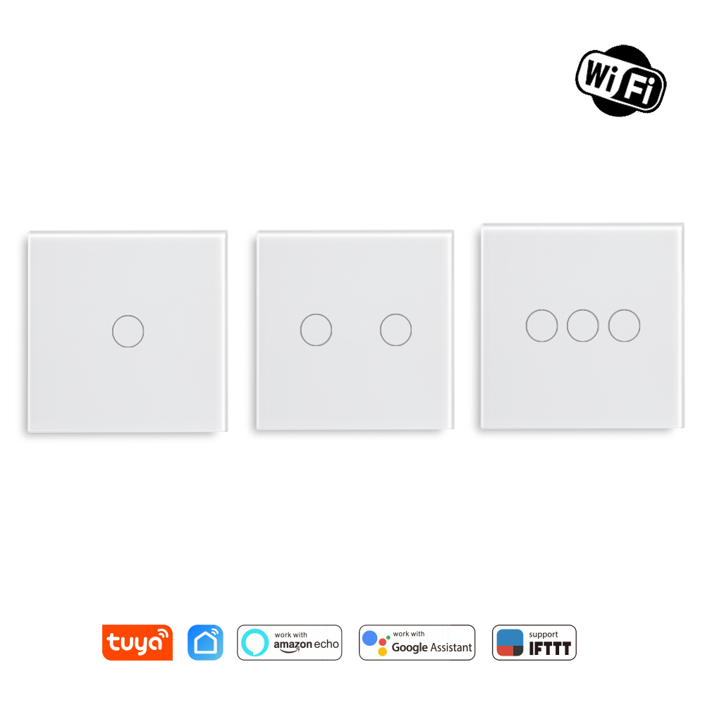 Wifi Smart Light Switch Glass Screen Touch Panel Voice Control Wireless Wall Switch Work With Alexa Echo Google Home 1/2/3-Gang