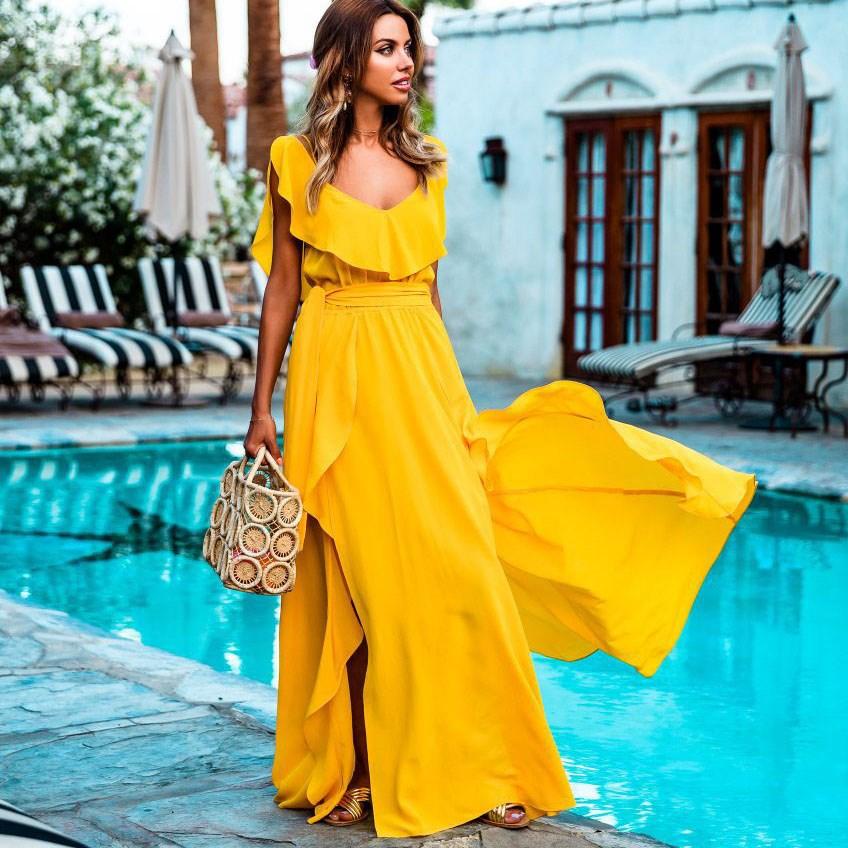 Summer Bohemian High Waist Sashes Casual Sundress Backless Split Beach Dress Women Sexy Tank Yellow Maxi Dress in Dresses from Women 39 s Clothing