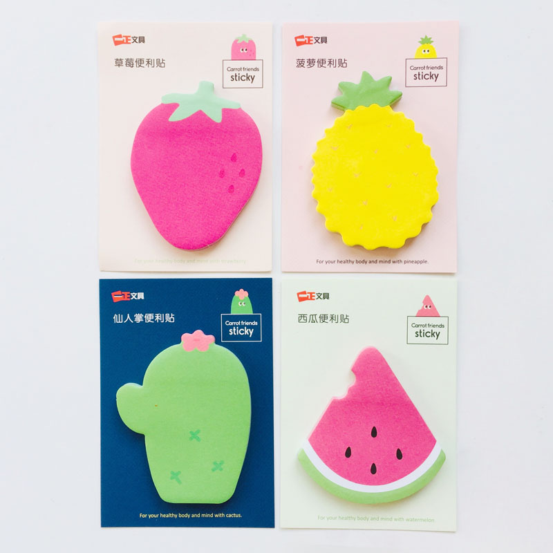 30 Pages Cactus Strawberry Watermelon Memo Pad Sticky Notes School Office Supply Stationery