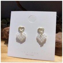 MENGJIQIAO nueva llegada hecho a mano lindo amor corazón pendientes de perla simulada para mujeres de moda de la boda joyería Oorbellen