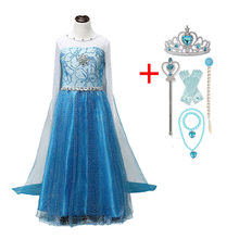 Princess Girls Cosplay Costumes Snow Queen Elsa Dress For Kids Halloween Party Dress Disfraz Carnaval Vestidor Robe Infantil