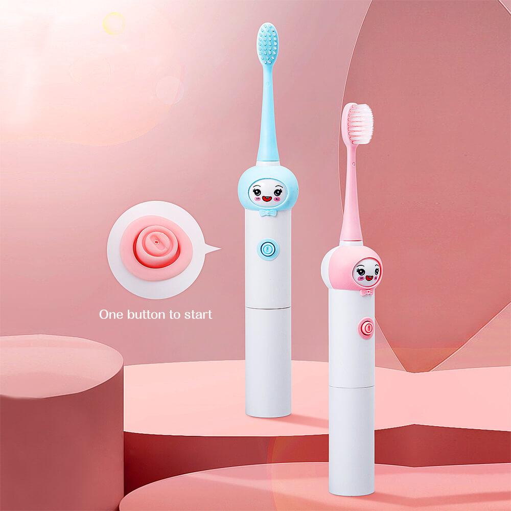 Çocuk Sonic elektrikli diş fırçası şarj edilemez karikatür desen fırça diş yedek kafa ile çocuklar için 3-12 yıl