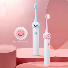 Children Sonic Electric Toothbrush No-Rechargeable Cartoon Pattern Brush Teeth With Replacement Head For Kids 3-12 year