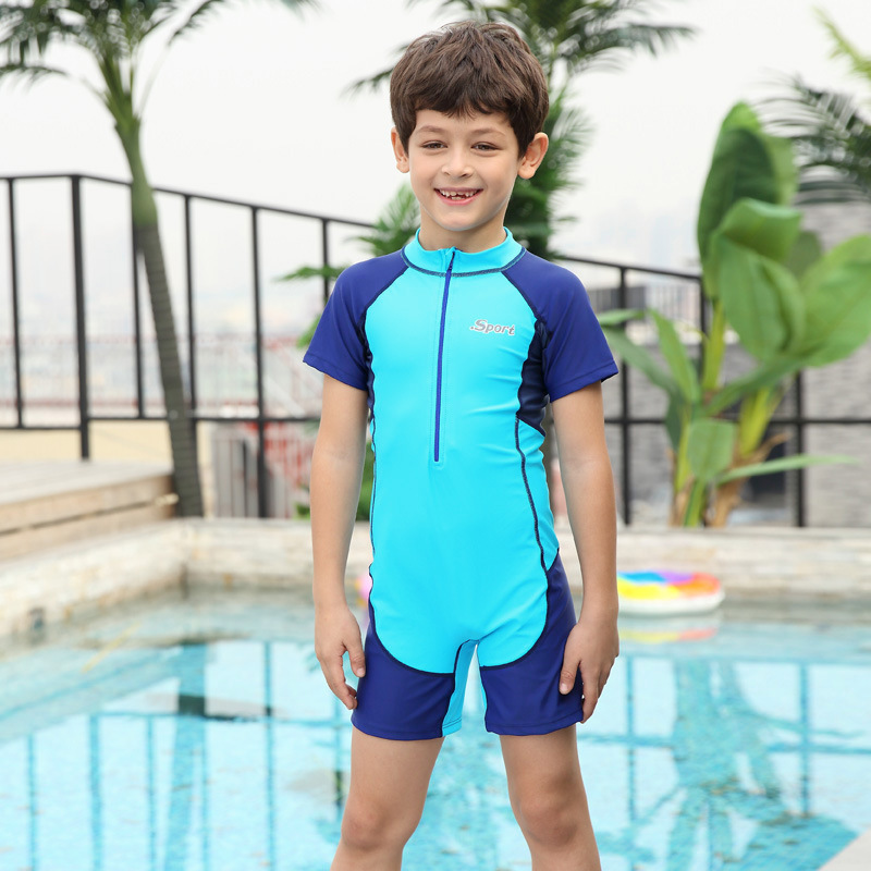 New Style 1-12-Year-Old KID'S Swimwear One-piece Swimming Suit BOY'S Big Boy Kids Tour Bathing Suit Quick-Dry Bathing Suit Swimw
