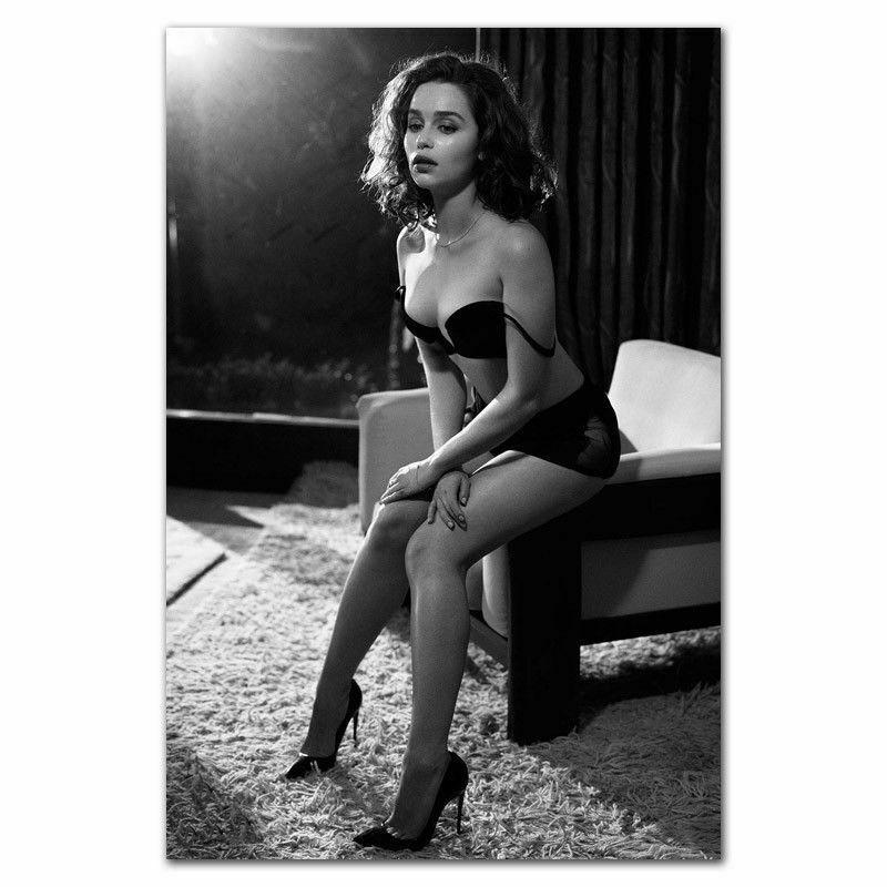 W045 Emilia Clarke Sexy Girl Model Actress Silk Fabric Wall Poster