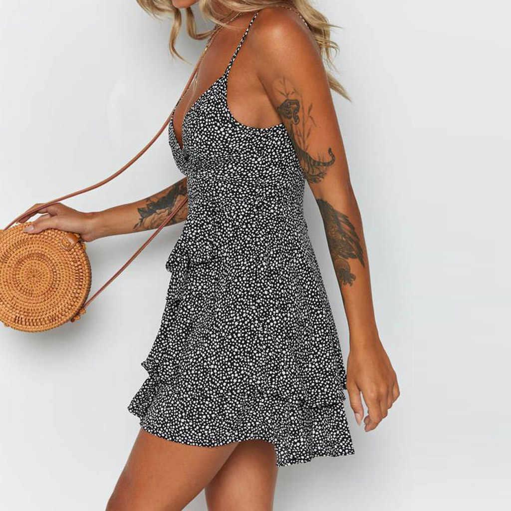 Vrouwen Zomer Jurk Diepe V-hals Mouwloze Dot Print Cascading Ruffle Bandage Mini Strap Dress Party Vestidos Verano 2020 Nieuwe Wh