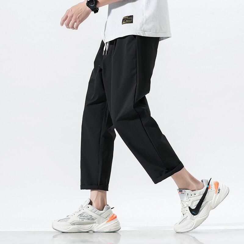 2020 Summer Men's Pure Color Haren Pants Cotton Casual Pants Loose Trousers Active Elastic Green/grey/black Joggers Sweatpants