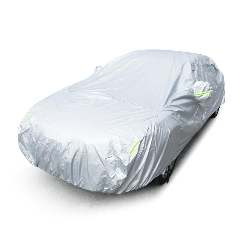 JIUWAN universel SUV bâches de voiture soleil poussière Protection UV extérieur Auto couvertures complètes parapluie argent bande réfléchissante pour SUV berline