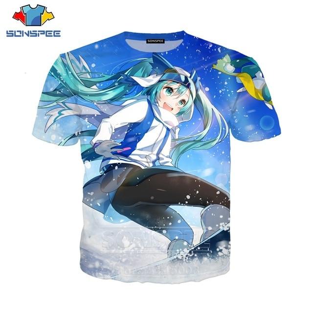 SONSPEE Men Women Singer Sweatshirt 3D Print Anime Girl Hatsune Miku T Shirt Short Sleeve Casual Street O Neck Top Pullover (9)