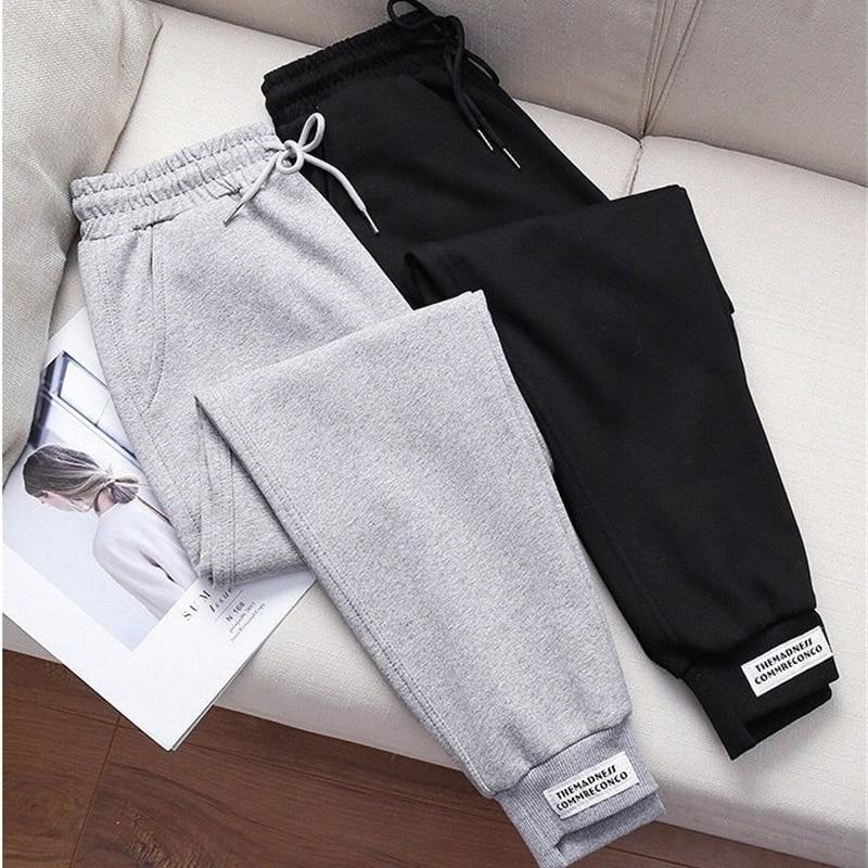 2020 Women Pants Autumn Winter Casual Sweatpants High Waist  Loose Cotton Harem Pants Female Fleece Elastic Waist Trousers 3152