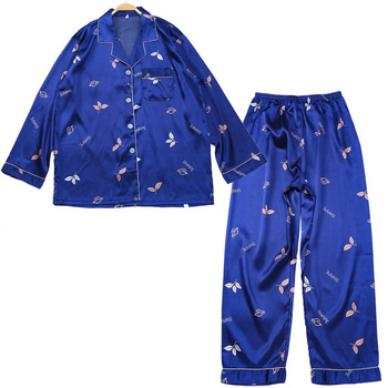 Men's Pajamas Simulation Silk Pajamas Set Unisex Sexy Print Style Soft Comfortable Fashion Two-color Pajama Set bow print wrap pajama set