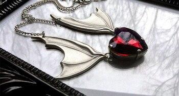 Ожерелье с крыльями летучей мыши с красным сердцем, ожерелье летучей мыши вампира, подарок для любимого летучей мыши, викторианское серебряное ожерелье с крыльями летучей мыши, Хэллоуин