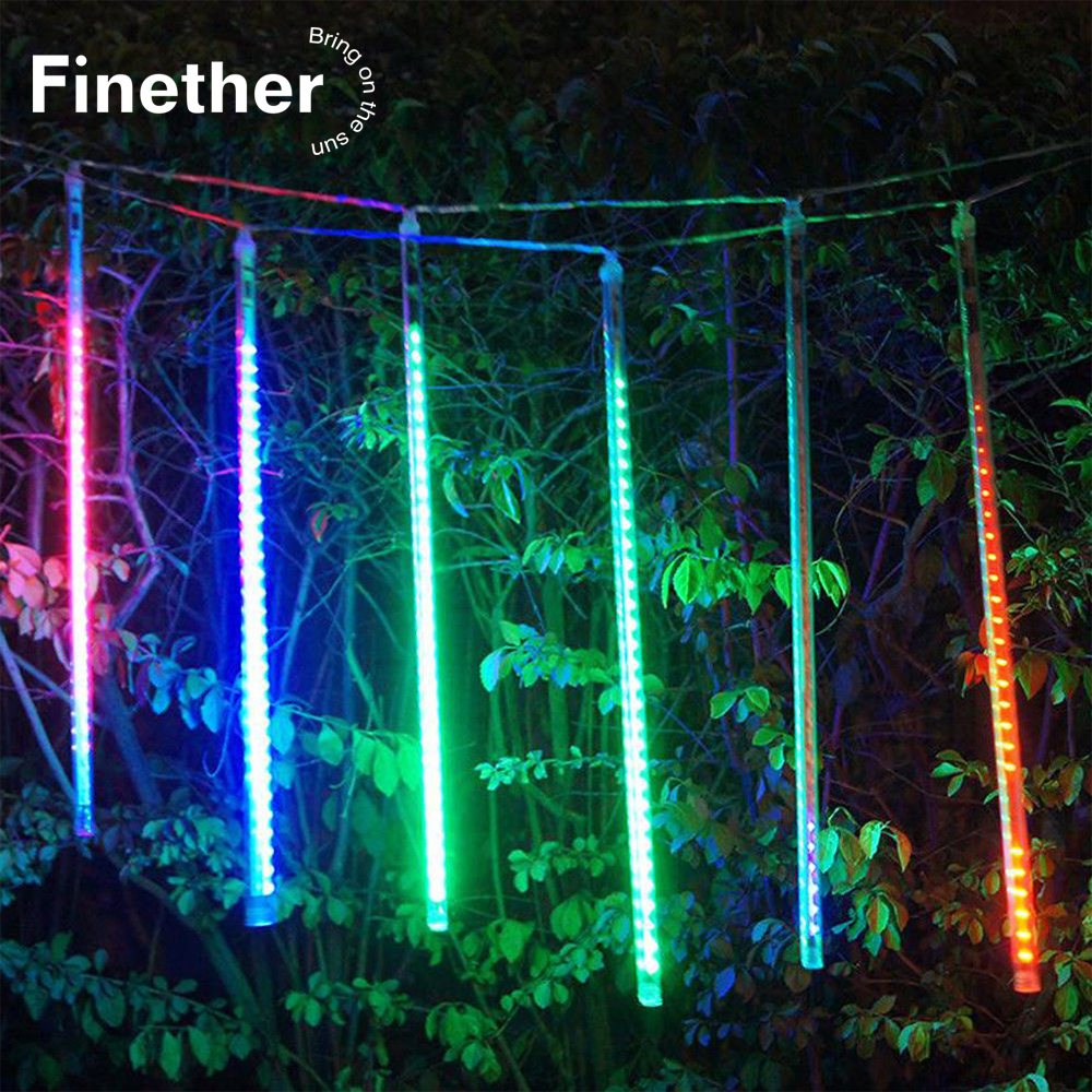 50cm 384LED String Light Meteor Shower Rain 8 Tubes Falling Light IP65 Waterproof For Outdoor Xmas Tree Garden Decoration EU/US