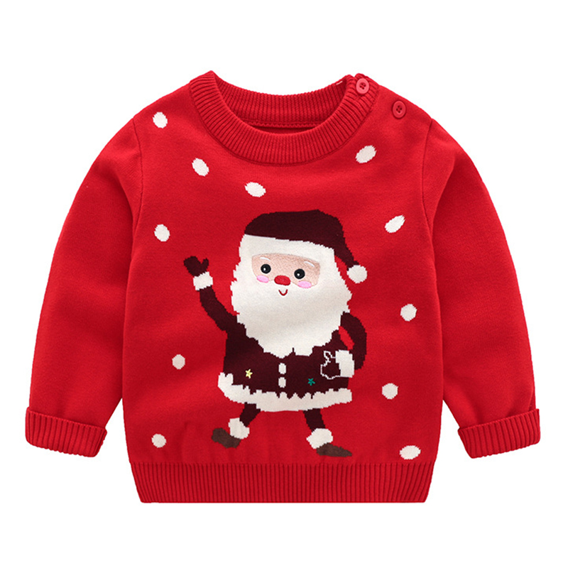 Christmas Baby Boys Girls Long Sleeve Cartoon Sweaters Autumn Winter Kids Cartoon Pullover Coat Baby Boys Girls Sweaters 3