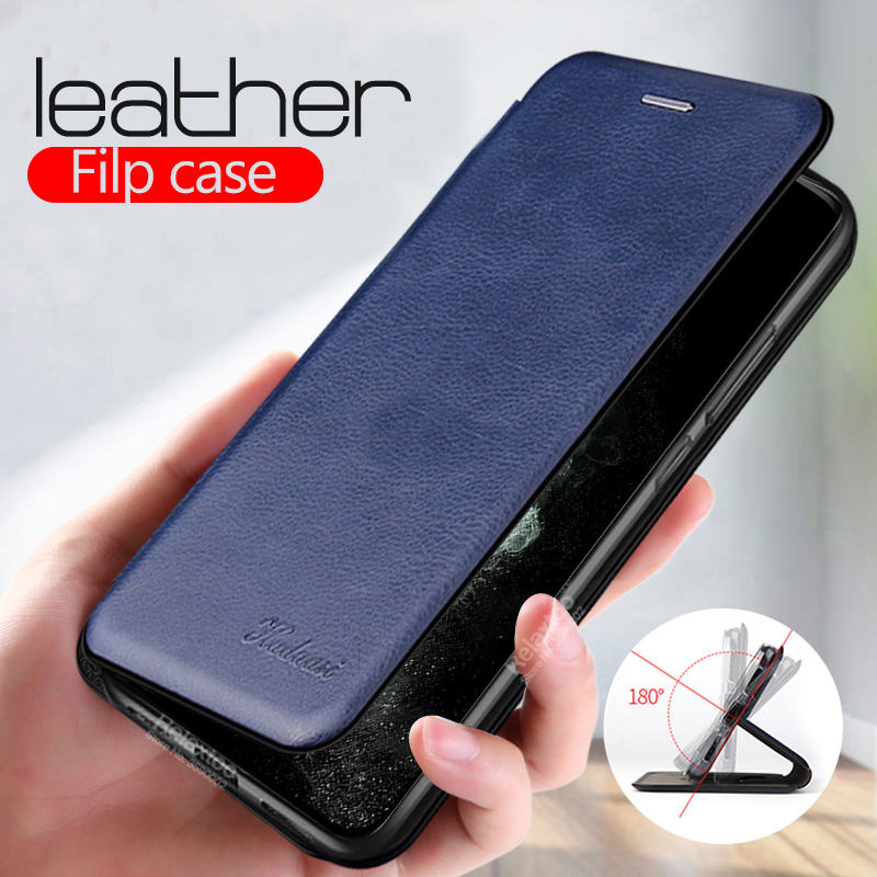 Luxury PU Leather Flip <font><b>Case</b></font> For iphone 11 pro max 2019 Stand Magnetic Wallet Cover For iphone x xs xr 6 7 8 plus <font><b>Card</b></font> Slot Coque image