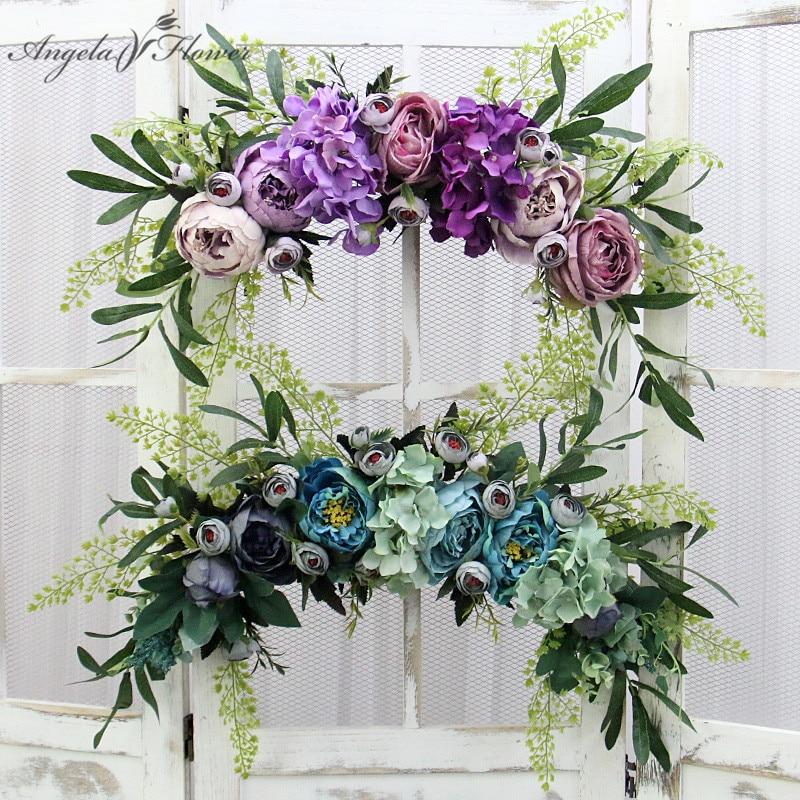Искусственная гирлянда с помпонами, цветочный венок, роза, пион, Гортензия, свадебное Рождественское украшение, подвесной Шелковый цветок д...