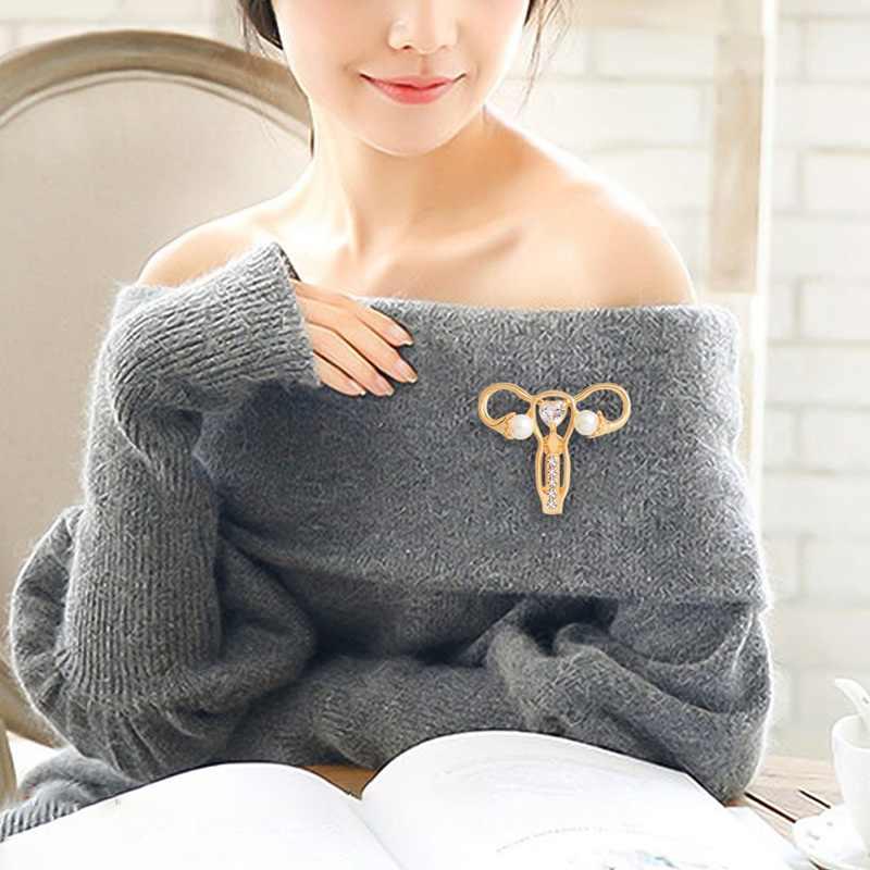 크리스탈 cuterus 자궁 모양 브로치 배지 옷깃 핀 시뮬레이션 진주 액세서리 소녀 전원 여성 권리 여성 주의자 선물